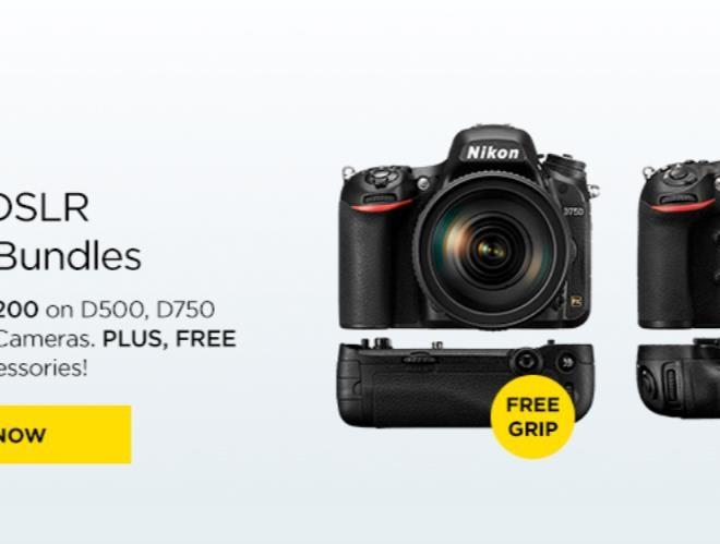 Up to $1200 off on Nikon D500, D750, D810 Camera Bundles Plus Free Grips and Accessories