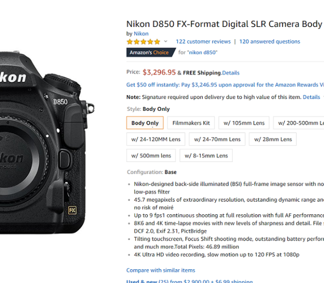 Nikon D850 Body now in Stock at Amazon