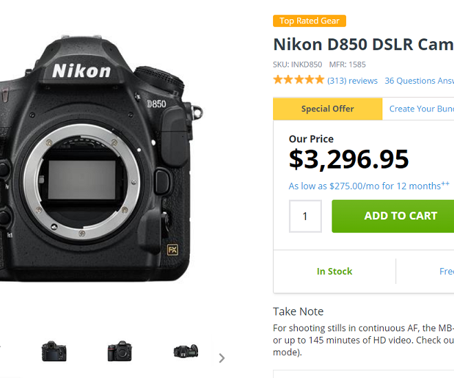 Nikon D850 Body is now in Stock at Adorama