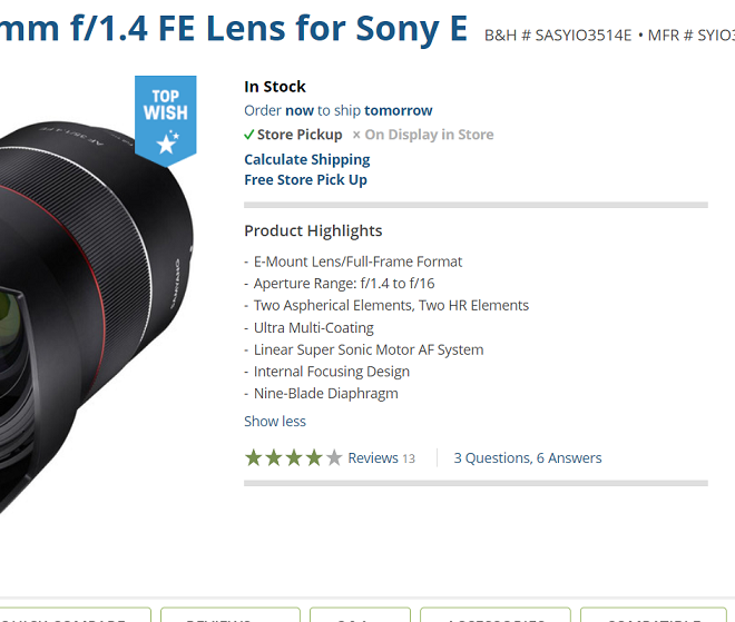 Today Only: $275 off on Samyang AF 35mm f/1.4 FE Lens (now $524)