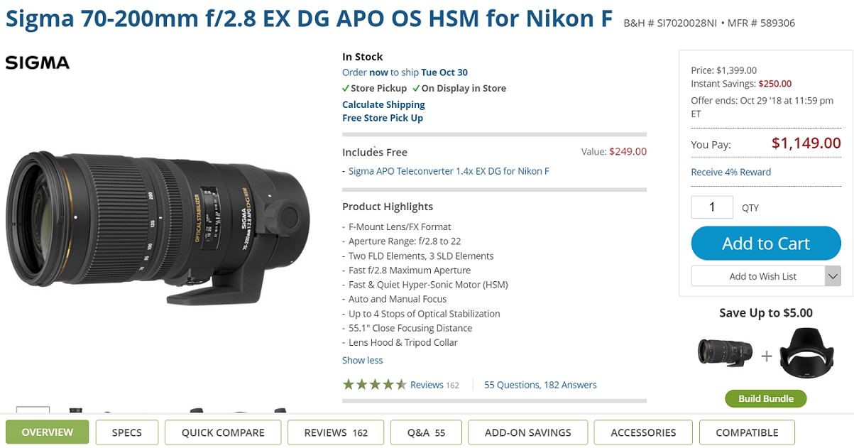 $250 off on Sigma 70-200mm f/2.8 Lens for Nikon at B&H (Now $1149)