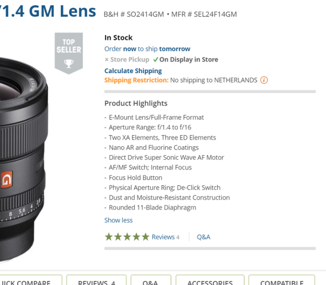 Sony FE 24mm f/1.4 GM Lens is now in Stock at B&H